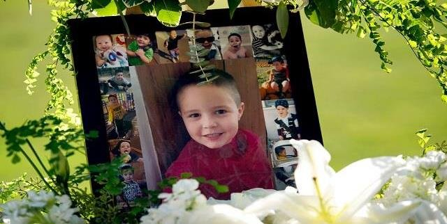 This July 19, 2017 file photo shows a portrait of five-year-old Aramazd Andressian Jr. at a memorial in his memory at the Los Angeles County.