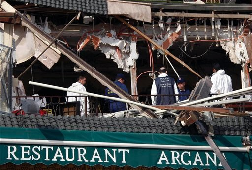 Police experts work at the scene of an explosion which rocked the Argana cafe in Marrakech's Djemma el-Fna square , Morocco, Thursday, April 28, 2011.