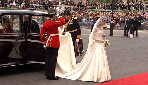 In this image taken from video, Kate Middleton arrives at Westminster Abbey for the Royal Wedding in London on Friday, April, 29, 2011.