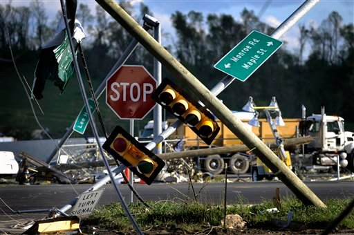 Downed traffic lights near I-81 following a tornado Thursday, April 28, 2011 in Glade Spring, Va. Several homes and trucks stops along I-81 were severly damaged. (AP Photo/Jeff Gentner)