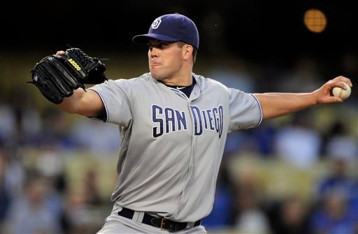 San Diego Padres starting pitcher Clayton Richard throws to the plate during the first inning of their Major League Baseball game against the Los Angeles Dodgers, Friday, April 29, 2011, in Los Angeles. (AP Photo/Mark J. Terrill)