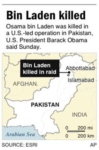 Map locates Abbottabad, Pakistan, where Osama bin Laden was killed in a U.S.-led raid