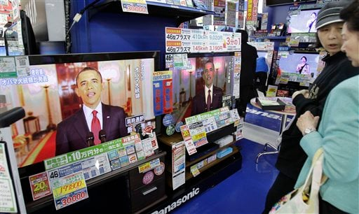 President Barack Obama, making a statement on the death of Osama bin Laden, is shown on TVs at an electronics retailer in Tokyo on Monday May 2, 2011.