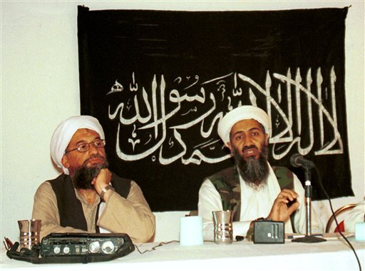 1998 file photo: Ayman al-Zawahri, left, holds a press conference with Osama bin Laden in Khost, Afghanistan and made available Friday March 19, 2004. (AP Photo/Mazhar Ali Khan)