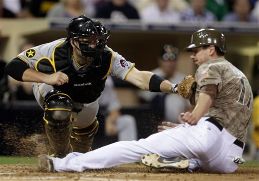 Pittsburgh Pirates catcher Chris Snyder puts the tag on the chest of San Diego Padres' Brad Hawpe who is out trying to score from third on a fly out to Pirates right fielder Garrett Jones in the fifth inning of a baseball game Monday, May 2, 2011.