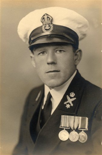In this 1936 photo provided by Department of Defence, Claude Choules poses for a photo as a sailor at HMAS Cerberus near Melbourne, Australia.