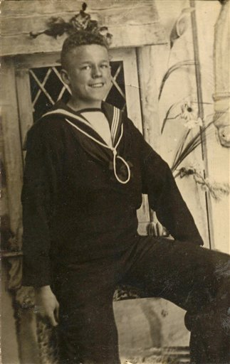 In this 1917 photo provided by Department of Defence, Claude Choules poses for a photo as a young sailor at HMAS Cerberus near Melbourne, Australia.
