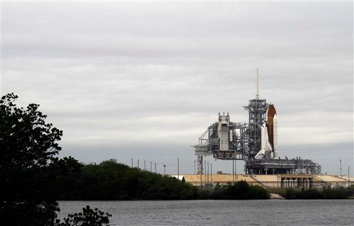 The space shuttle Endeavour sits on Launch Pad 39-A during fueling at Kennedy Space Center in Cape Canaveral, Fla., Friday, April 29, 2011.