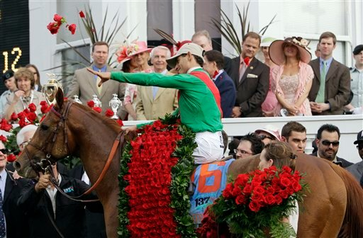John Velazquez riding Animal Kingdom reacts after winning the 137th Kentucky Derby horse race at Churchill Downs Saturday, May 7, 2011, in Louisville, Ky. (AP Photo/Ed Reinke)