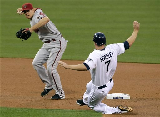 Arizona Diamondbacks shortstop Stephen Drew throws to first to complete a double play as the San Diego Padres' Chase Headley slides into second inning May 6, 2011, in San Diego. Cameron Maybin was out at first. (AP Photo/Gregory Bull)