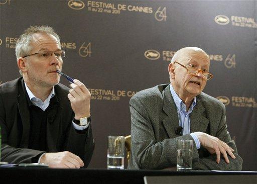 Cannes Film Festival Gilles Jacob, right, addresses reporters during a press conference with Festival general delegate Thierry Fremaux, left, in Paris, Thursday April 14, 2011. (AP Photo/Remy de la Mauviniere)