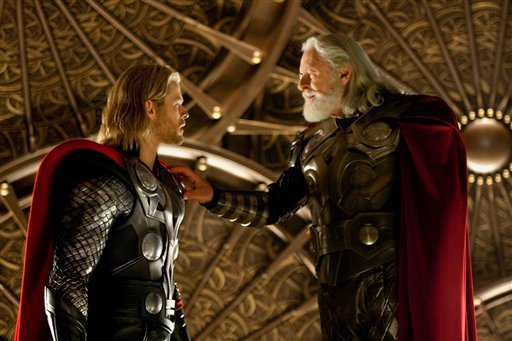 "In this film publicity image released by Paramount Pictures and Marvel Entertainment, Chris Hemsworth, left, and Anthony Hopkins are shown in a scene from, ""Thor."" (AP Photo/Paramount Pictures and Marvel Entertainment, Zade Rosenthal)"