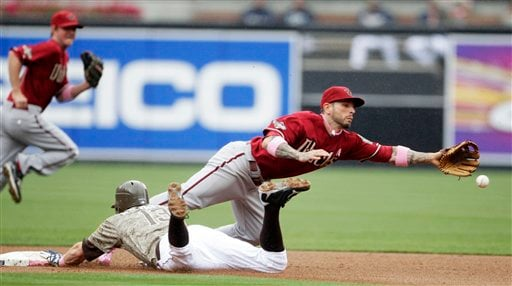 Arizona Diamondbacks second baseman Ryan Roberts dives for a wild throw as San Diego Padres' Chris Denorfia steals second in the first inning of a baseball game Sunday, May 8, 2011 in San Diego. (AP Photo/Lenny Ignelzi)