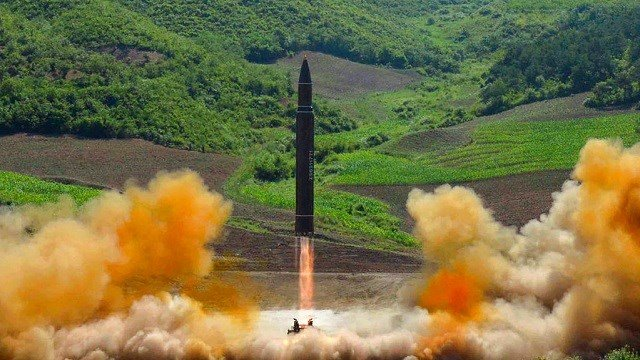 This file photo distributed by the North Korean government shows what was said to be the launch of a Hwasong-14 intercontinental ballistic missile, ICBM, in North Korea's northwest.
