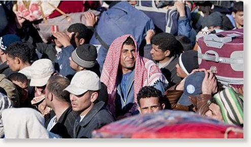 Egyptian, Tunisian and Libyan refugees in Ras Ajdir at the Tunisia-Libya border, Tuesday, March 1, 2011.