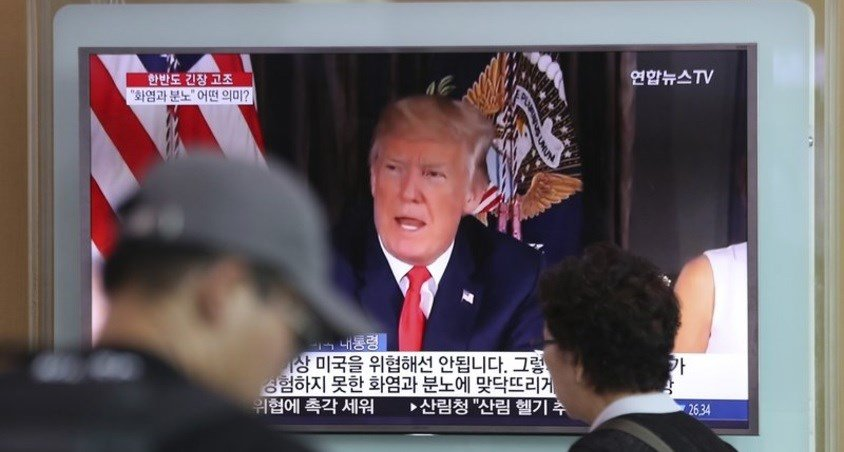 U.S. President Donald Trump at the Seoul Train Station in Seoul, South Korea, Wednesday, Aug. 9, 2017.