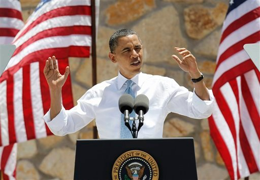 President Barack Obama gestures while speaking about immigration reform, Tuesday, May 10, 2011, in El Paso, Texas.