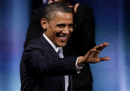 President Barack Obama waves as he prepares to speak at the Austin City Limits Live at the Moody Theater, Tuesday, May 10, 2011, in Austin, Texas.