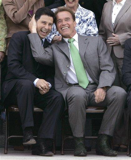 Former Assembly Speaker Fabian Nunez (left) and former Gov. Schwarzenegger (right)