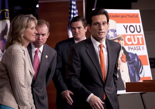House Majority Leader Eric Cantor of Va., left, and fellow House Republicans, eave a news conference on Capitol Hill in Washington, Wednesday, May 11, 2011, where they talked about the budget.