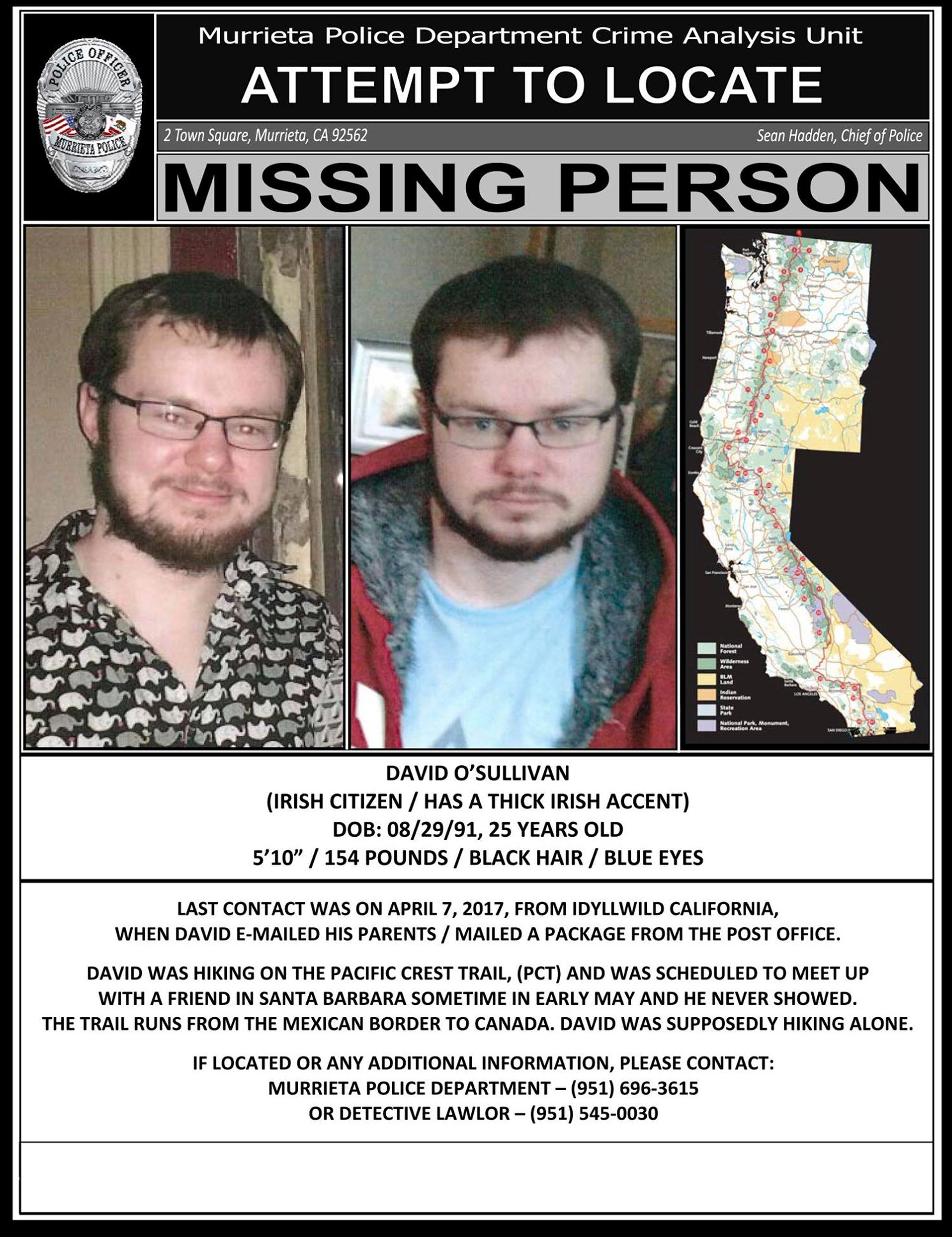 This undated Missing Person poster, distributed by the Murrieta, Calif., Police Department, shows photos and information about missing Irish hiker David O'Sullivan as they seek the public's help in locating him.  (Murrieta Police Department via AP)