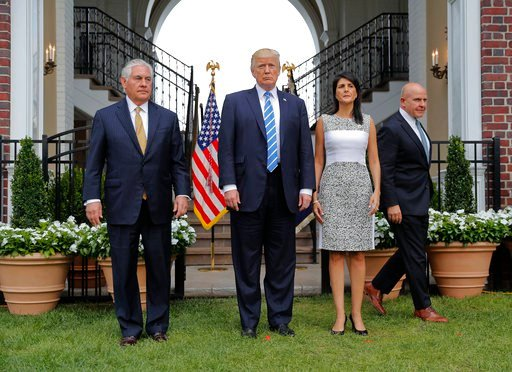 President Donald Trump with from left, Secretary of State Rex Tillerson, U.S. Ambassador to the United Nations Nikki Haley and national security adviser H.R. McMaster. (AP Photo/Pablo Martinez Monsivais)
