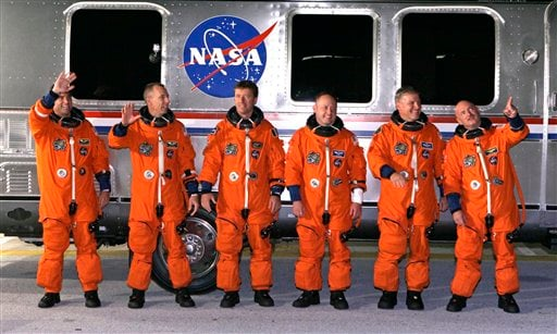 The crew of space shuttle Endeavour