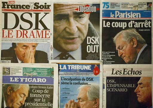 A collection of French newspapers displaying headlines referring to the head of IMF, Dominique Strauss-Kahn, in Paris, France, Monday, May 16, 2011.