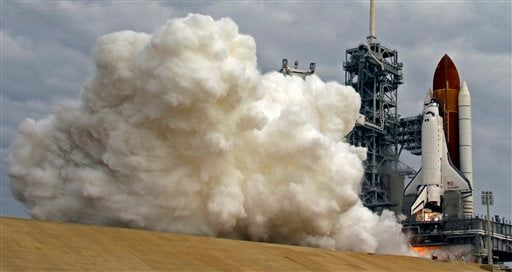 The space shuttle Endeavour lifts off from Kennedy Space Center at Cape Canaveral, Fla., Monday, May 16, 2011.