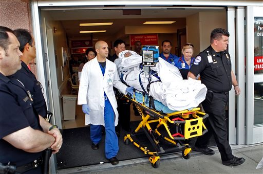 Bryan Stow, a Santa Clara, Calif., area paramedic, who suffered brain damage in an attack on opening day of the Dodgers opener in March, is transported Monday, May 16, 2011 to San Francisco.
