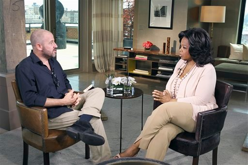"In this photo taken April 30, 2011, talk-show host Oprah Winfrey, right, interviews author James Frey in New York during taping for ""The Oprah Winfrey Show."""