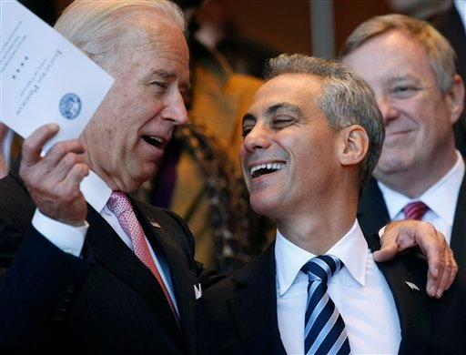 Chicago mayor-elect Rahm Emanuel, right, shares a laugh with Vice President Joe Biden during inaugural ceremonies Monday, May 16, 2011 in Chicago.