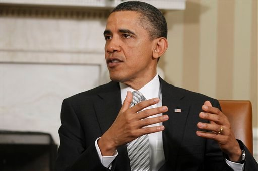 President Barack Obama speaks to reporters as he meets with Jordan's King Abdullah II in the Oval Office at the White House in Washington, Tuesday, May 17, 2011.