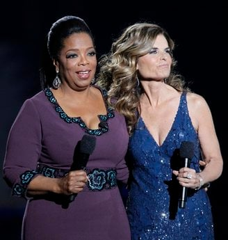 Maria Shriver appears with Oprah Winfrey during a star-studded double-taping of 'Surprise Oprah!