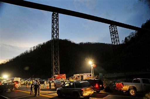 In an April 5, 2010 file photo, West Virginia State Police direct traffic at the entrance to Massey Energy's Upper Big Branch Coal Mine in Montcoal, W.Va. (AP Photo/Jeff Gentner, File)