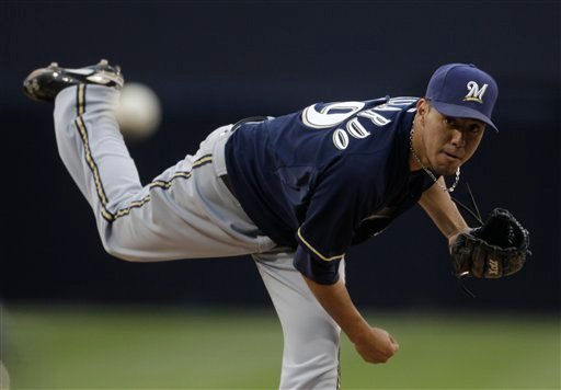Milwaukee Brewers starting pitcher Yovani Gallardo throws against the San Diego Padres in the first inning of a baseball game on Wednesday, May 18, 2011, in San Diego. (AP Photo/Lenny Ignelzi)