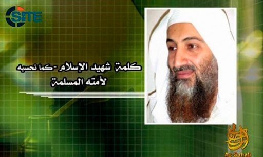This image from video provided by the SITE Intelligence Group shows the image displayed during a posthumous audio message from slain al-Qaeda leader Osama bin Laden released by the terrorist group's media arm, as-Sahab.