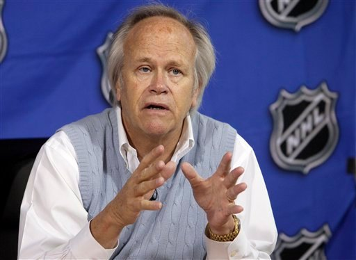 FILE - This April 19, 2011, file photo shows NBC Sports Group Chairman Dick Ebersol during a news conference at the offices of the National Hockey League, in New York.