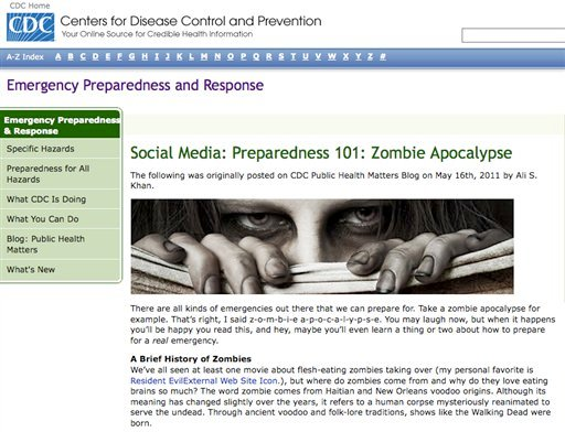 In this Friday May 20, 2011 handout photo released by the Center for Disease Control, a screen grab from the CDC's Emergency Preparedness and Response social media blog webpage is shown.