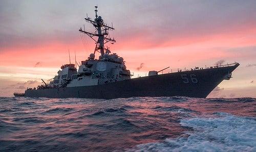 USS John S. McCain (DDG 56) operates in the South China Sea, Jan. 22. (U.S. Navy/MC3 James Vazquez)