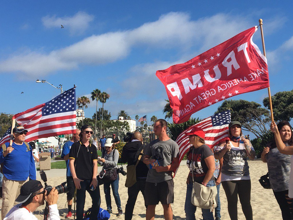 """Laguna Beach """"America First Rally"""" draws people against illegal immigration & counter-protesters"""