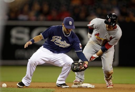 Padres shortstop Jason Bartlett tries to make a tag without the ball as St. Louis Cardinals' Allen Craig steals seconds in the 11th inning of the Cardinals 3-2 victory in a baseball game May 24, 2011 in San Diego. (AP Photo/Lenny Ignelzi)