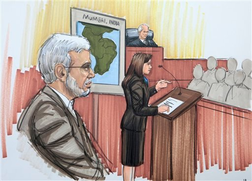In this courtroom sketch, Chicago businessman Tahawwur Rana is shown in federal court as the prosecutor makes an opening argument Monday, May 23, 2011, in Chicago.