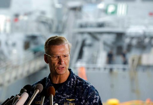 In this Sunday, June 18, 2017 file photo, Vice Adm. Joseph Aucoin, Commander of the U.S. Navy's 7th Fleet