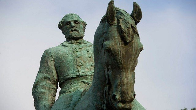 The statue of Confederate Army of Northern Virginia Gen. Robert E. Lee stands in Emancipation Park in Charlottesville, Va.