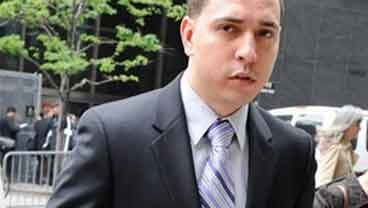 In this May 19, 2011 photo, Police officer Franklin Mata enters State Supreme court on the second day of jury deliberations in New York. (AP Photo/ Louis Lanzano)