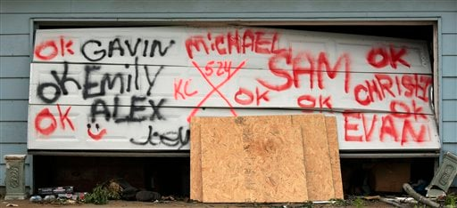 Names spray painted on a garage door indicate the status of residents of a home in a devastated Joplin, Mo. neighborhood Thursday, May 26, 2011.