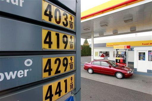 Gasoline pump prices are shown at a gas station Monday, May 2, 2011, in Portland, Ore.