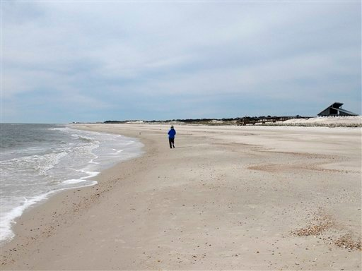 This Feb. 5, 2007 file photo courtesy of William Kronholm shows the beach at St. George Island State Park near Apalachicola, Fla.