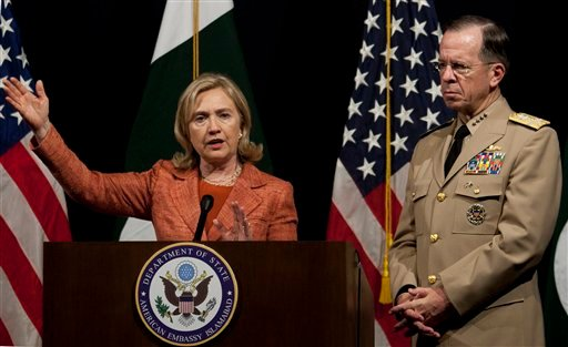 U.S. Secretary of State Hillary Rodham Clinton addresses a news conference with Adm. Mike Mullen, the chairman of the U.S. Joint Chiefs of Staff at U. S. embassy in Islamabad, Pakistan on Friday, May 27, 2011.